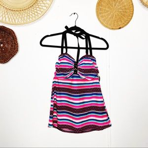 NWT Cacique Pink Striped Tankini Top Size 14